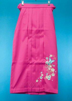 HA95-40女袴レンタル  (身長160-165 普通巾) 濃いピンク 蝶の刺繍