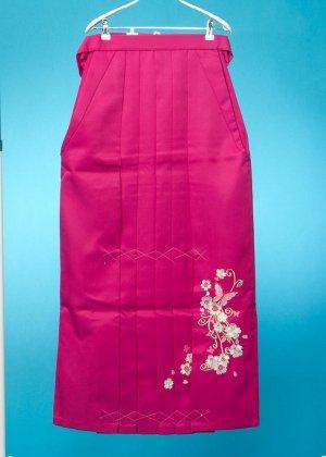 HA95-41 女袴レンタル (身長160-165普通巾) ピンク系 濃いローズピンク 蝶の刺繍