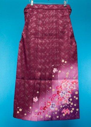 HA95-50女袴レンタル  (身長160-165普通巾) ワイン/ピンク  胡蝶蘭 ブランド[From KYOTO]