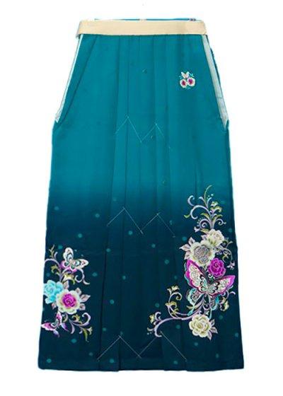 HA95-53女袴レンタル  (身長160-165 普通巾) グリーン系ぼかし 薔薇と蝶  [an an]