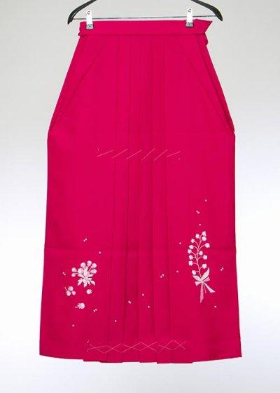HA95-56女袴レンタル紐下95 (身長160-165 普通巾) ローズピンク すずらん刺繍  [押切もえ]