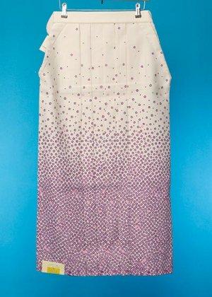 HA96-11ややワイド女袴レンタル(身長163-168(ブーツの場合168-173)ヒップ70-110)  オフ白 /紫の花ぼかし 桜模様 友禅 前幅広め
