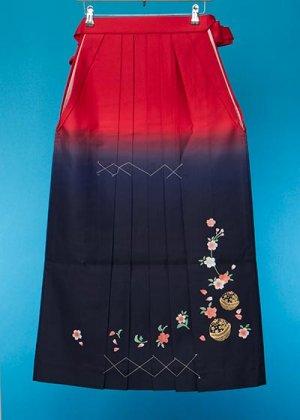 HA96-12女袴レンタル  (身長163-168 普通巾)  赤紺ぼかし  金彩 桜に鈴