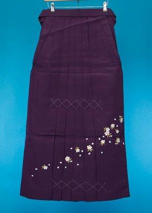 HA99-5トール女袴レンタル(身長165-170普通巾)紫 桜刺繍