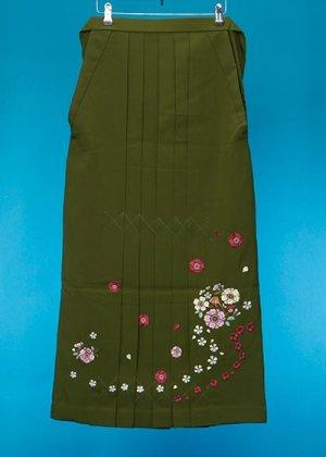 HA99-6トール女袴レンタル(身長165-170普通巾)グリーン系 抹茶色 八重桜