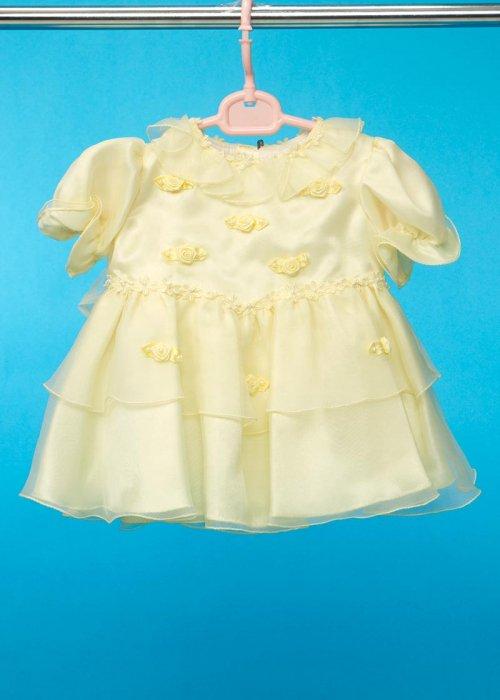 子供ドレス(身長80cm前後) ウエディングドレスメーカーが作った 黄色 薔薇の花 G80-17