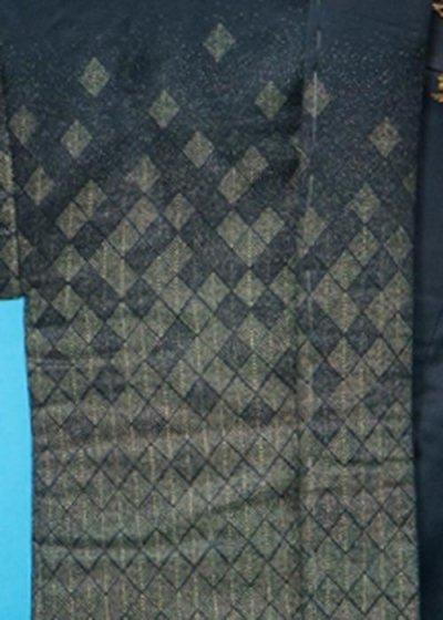 普通サイズ紋付 裄73.5 身長170-175cm前後 胴回り110cmまで 正絹日本製  紺色 金織 MP73.5-12