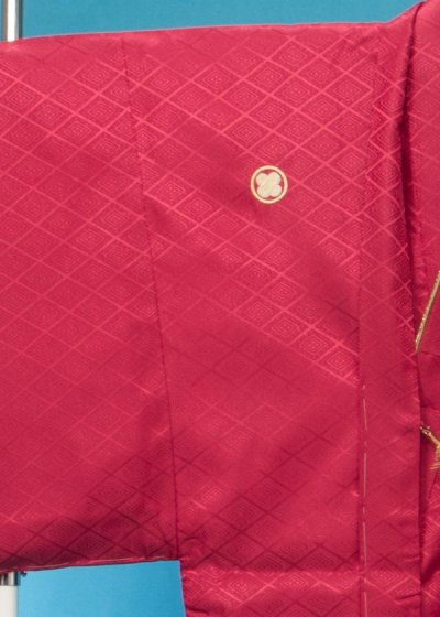 大きいサイズ紋付 トール 裄76(身長180-185前後 胴回り76-106)エンジ赤 MP76-6