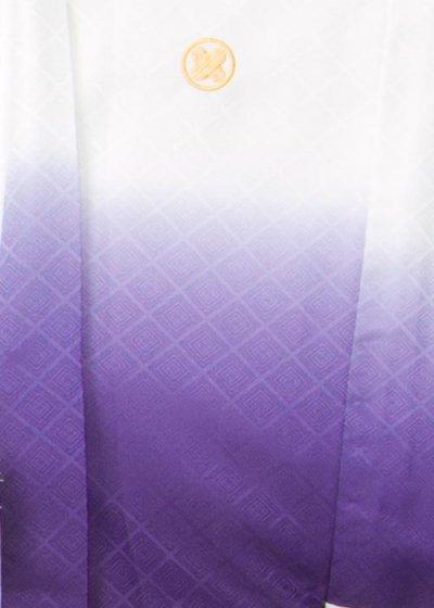MP79-21トールワイドサイズ紋付 裄79(身長185胴回り82-112)白/紫ぼかし