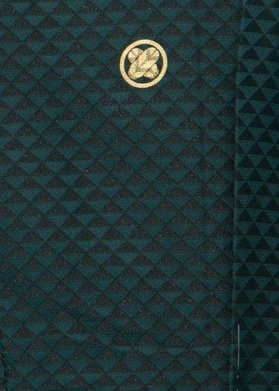 MP81-1トールワイド紋付レンタル 裄81(身長190胴回り87-117) 正絹日本製 濃いグリーンに黒のうろこ模様 金ラメ