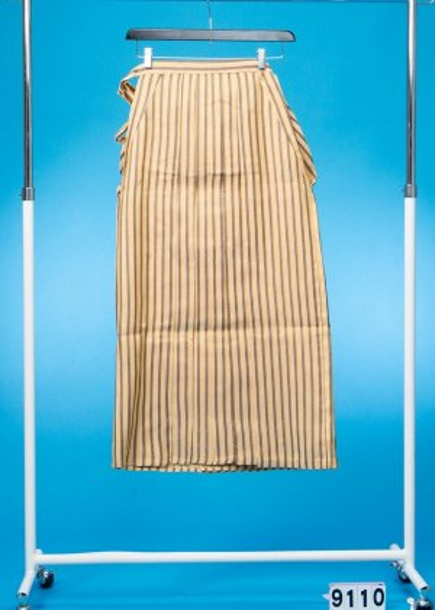 MH87-10男袴レンタル 身長160cm前後 黄金色 濃いクリーム色 黒ストライプ