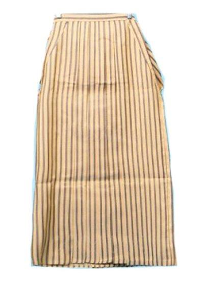 MH89-7男袴レンタル 身長165cm前後 黄金色 濃いクリーム色 黒ストライプ