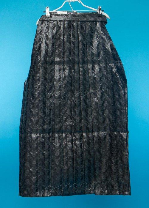 普通サイズの男袴 身長170-175cm前後 黒にジグザグのラメ模様 MH90-17
