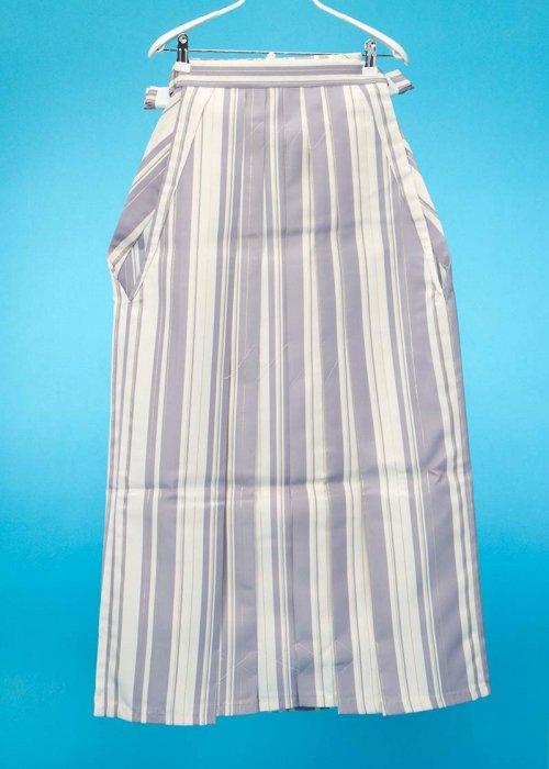 普通サイズの男袴(身長170-175cm前後)白 薄紫 金のストライプ [J-TREND] MH93-17【新品未使用】