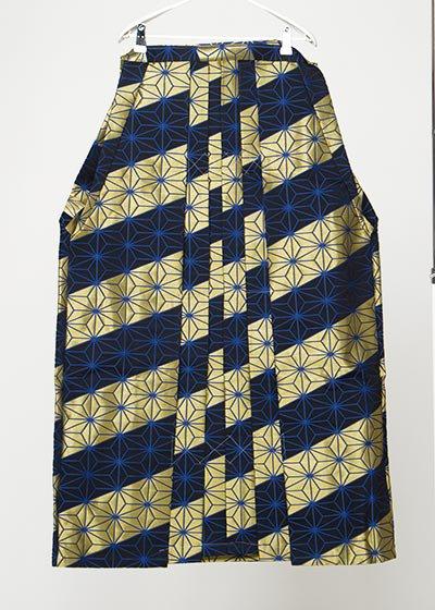 MH99-10トール男袴レンタル紐下99(身長190-195前後)紺/金斜めストライプ 青の麻の葉