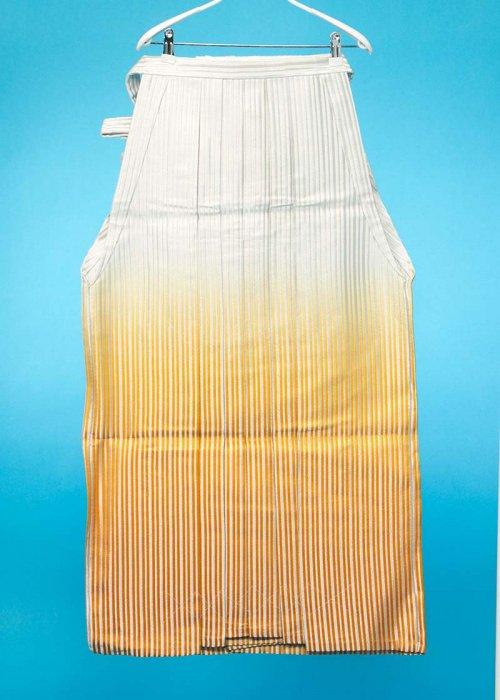 MH97-2トール男袴レンタル紐下97(身長180-185cm前後)白銀ストライプ 山吹ぼかし