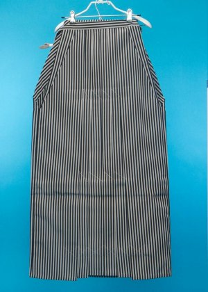 MH97-11トール男袴レンタル紐下97(身長180-185cm前後)仙台平タイプ 黒グレー縦縞 ストライプ 【新品未使用】