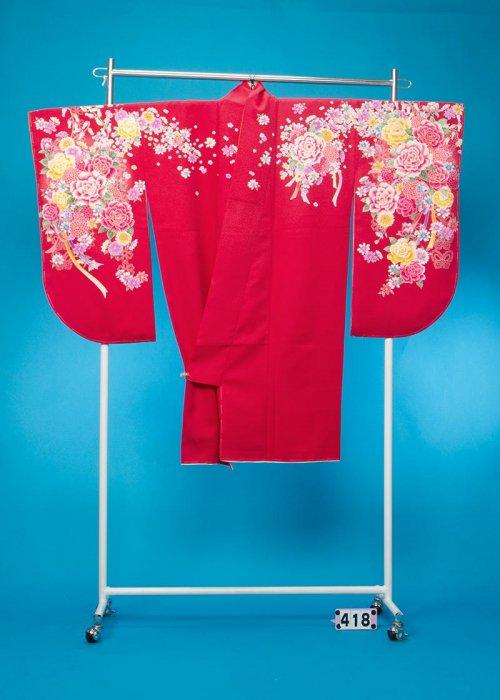 S418小振袖レンタル(裄70ヒップ69-99) 濃いめの赤 薔薇とすずらん【新品同様】