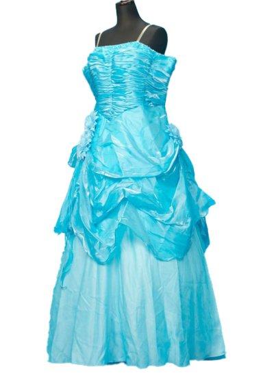 30号サイズのカラードレスレンタル(ウエスト110cmまで)ブルー系 水色 CD30-1