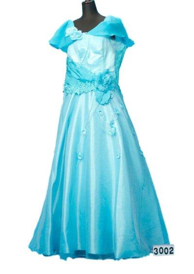 30号サイズのカラードレスレンタル(ウエスト110cmまで)ブルー系 水色 CD30-2