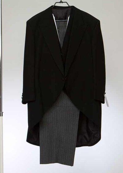 MN8K-12トール超ワイドモーニングレンタル 特注K8号(身長185-190 肩幅60 袖丈63) ジャケット+ベスト (組合せ用)【新品同様】