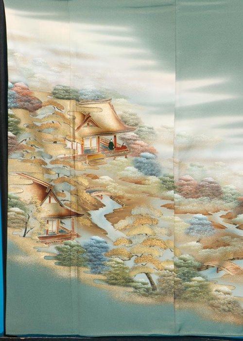 TI527色留袖レンタル 裄66(身長139-159ヒップ75-100) 正絹  薄グリーン 織  作家物[古都庭園]