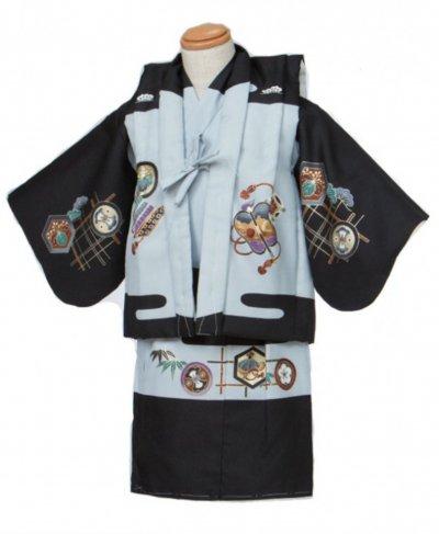 1-01ベビー紋付レンタル(0-1才・身長70前後) 黒 兜に龍
