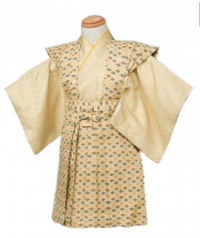 3-01男子ベビー裃レンタル(着物袴)  2-3才身長80-90cm 金ベージュ