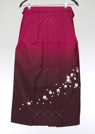 HA88-5女子袴レンタル(身長150-155)紫ぼかし 桜刺繍