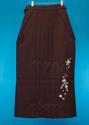 HA99-23トール女袴レンタル(身長165-170前後 普通巾) ブラウン系 こげ茶 リボンと桜刺繍 [押切もえ]