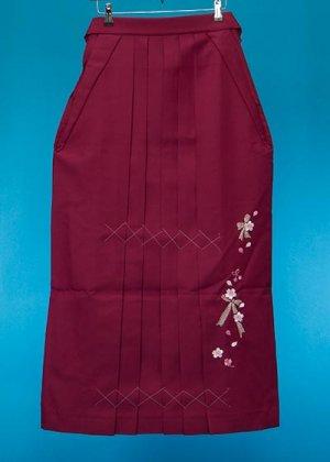 HA99-25トール女袴レンタル(身長165-170前後 普通巾) ワイン リボンと桜刺繍 [押切もえ]