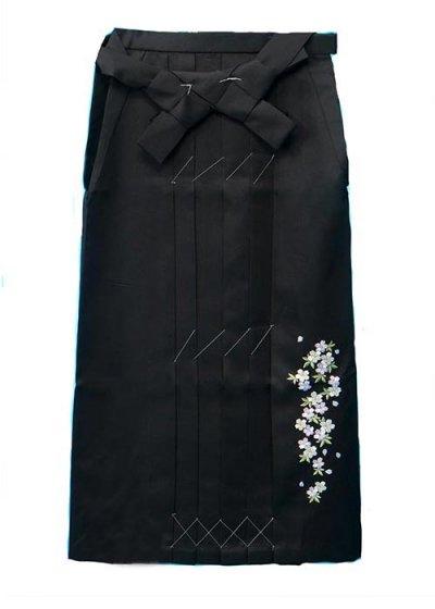 HA91-32超ワイド女袴レンタル紐下91(身長155-160ヒップ100-130)黒 小桜 刺繍 大きいサイズ【新品未使用】