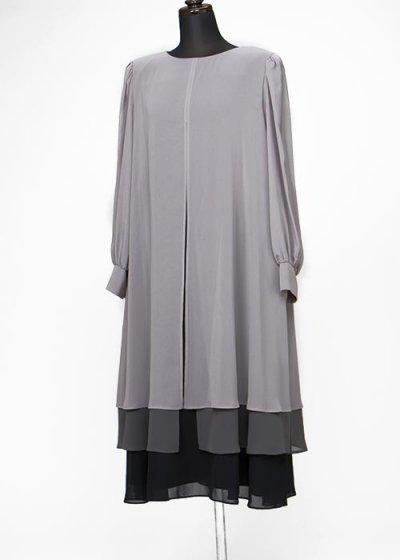 HD11-43ゲストドレス9-13号(バスト92-100) 日本製 グレー系オーガンジー重ね 長袖ロング 大きいサイズ
