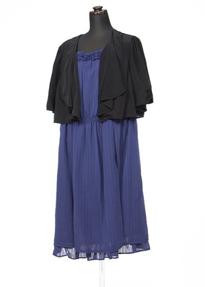 HD19-20 ゲストドレスレンタル 19号3L 紫に黒のボレロ風デザインドレス    ウエスト88cm