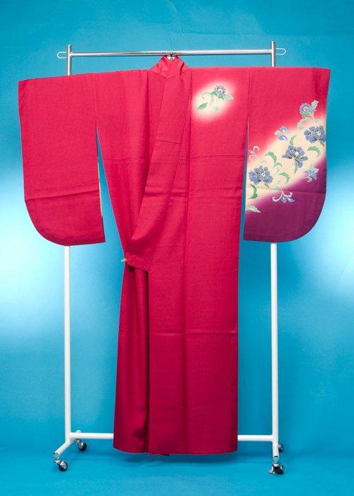 S48小振袖レンタル裄70(ヒップ80-105) ローズピンク/紫[ヌーヴォ]【新品同様】