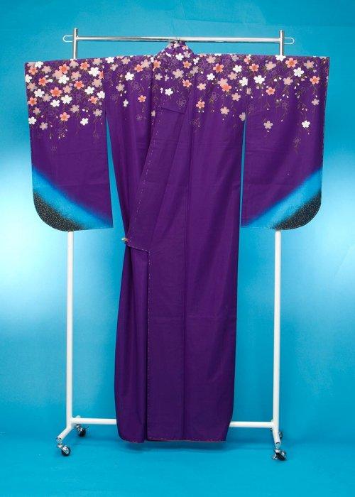 S25小振袖レンタル 裄67(ヒップ71-101) 紫 しだれ桜 金糸織
