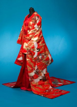 U643トール打掛ドレス 裄69(身長185まで ウエスト68-74)  赤 鶴 着物ドレス