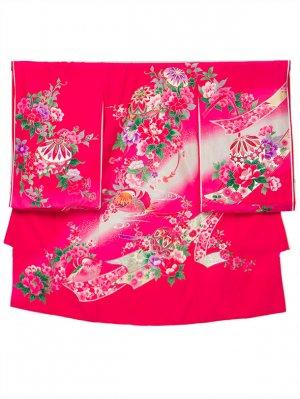 A51 お宮参り初着 女子 正絹 チェリーピンク まりとおしどり 四季の花