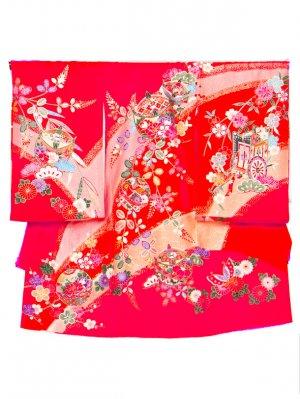 A53 お宮参り初着 女子 正絹 赤 オレンジ サーモンぼかし まりと糸車 四季の花