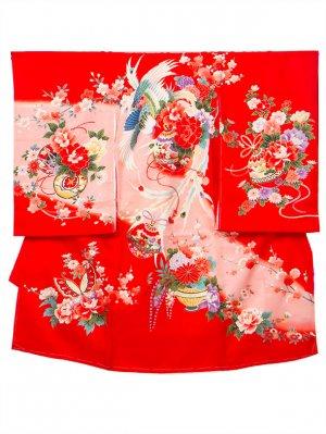 A58 お宮参り初着 女子 赤  ピンクぼかし 蝶と藤の花