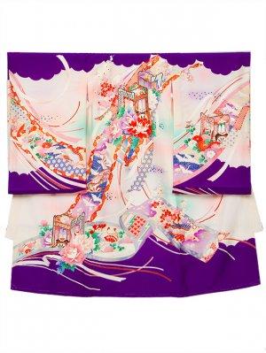 A60 お宮参り初着 女子 正絹 紫 ピンク水色ぼかし 牡丹 御所車
