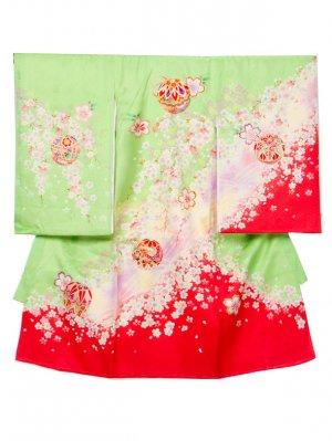 A63 お宮参り初着 女子 正絹 黄緑 赤ぼかし 桜にまり