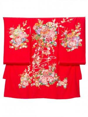 A67 お宮参り初着 女子 正絹 赤系 まり 四季の花 金彩蒔絵 牡丹刺繍