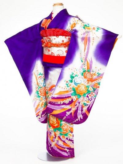7-04女子7才七五三着物レンタル(身長110-120cm) 正絹 紫バラ