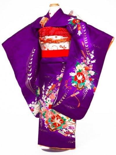 7-07女子7才七五三着物レンタル(身長110-120cm)正絹 紫 花車