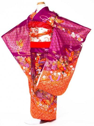 7-12女子7才七五三着物レンタル(身長110-120cm) 紫/オレンジ 麻の葉