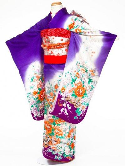 7-16女子7才七五三着物レンタル(身長110-120cm) 正絹 紫系 牡丹