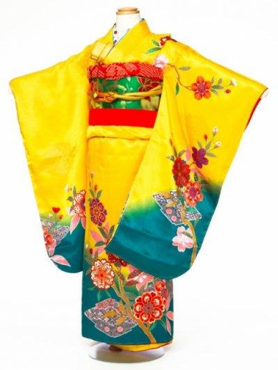 7-28女子7才七五三着物レンタル(身長110-120cm)黄色