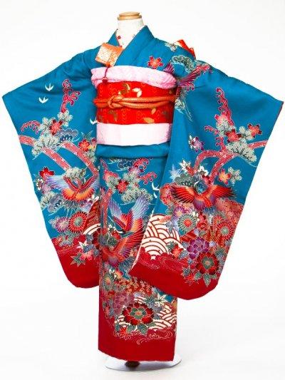 7-33女子7才七五三着物レンタル(身長110-120cm)  ターコイズブルー 紅型