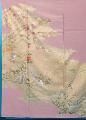 TI515色留袖レンタル 裄67(身長141-161ヒップ77-102)正絹 紫がかった薄ピンク 金織 作家物